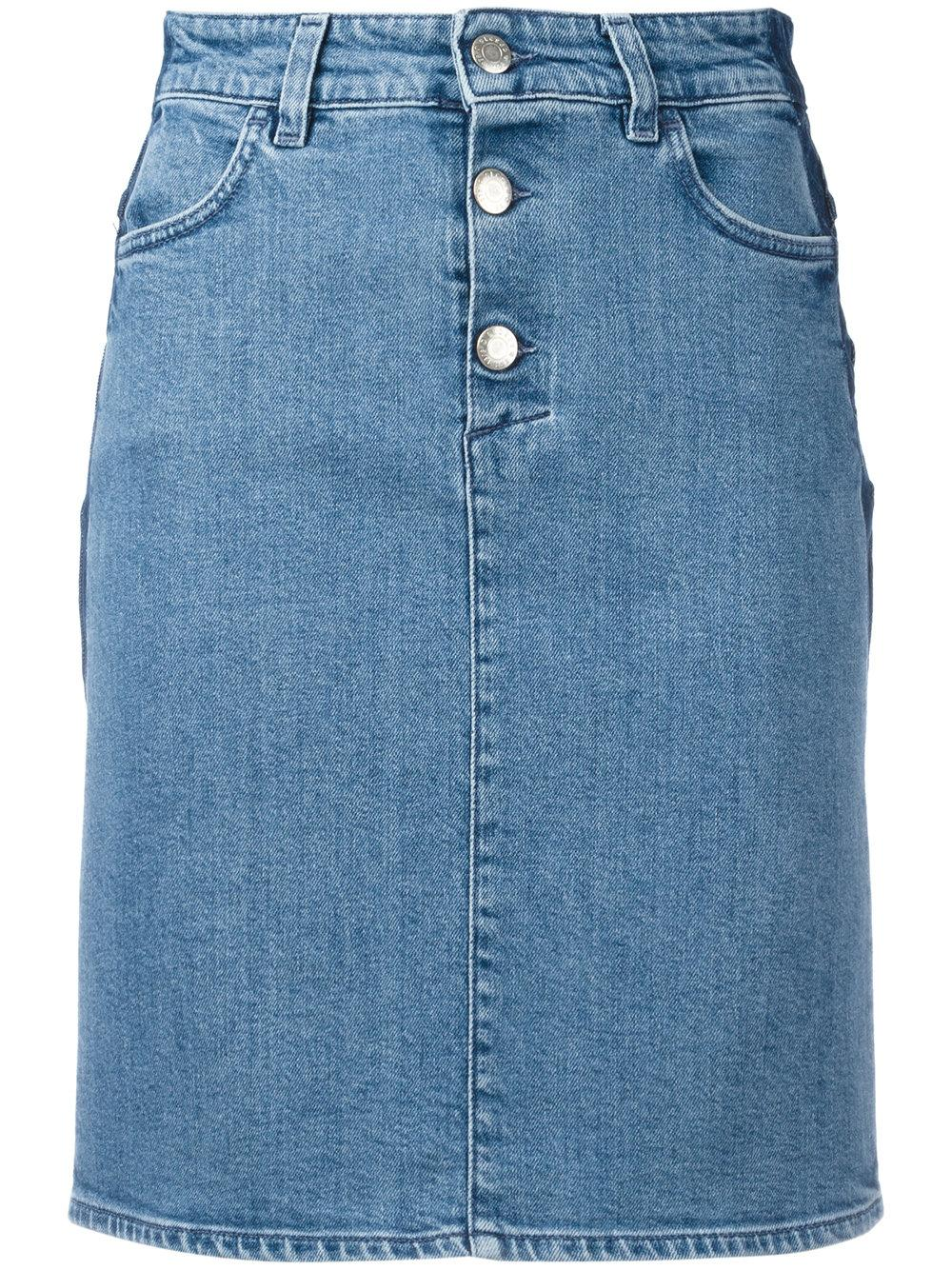 closed fitted denim skirt in blue lyst