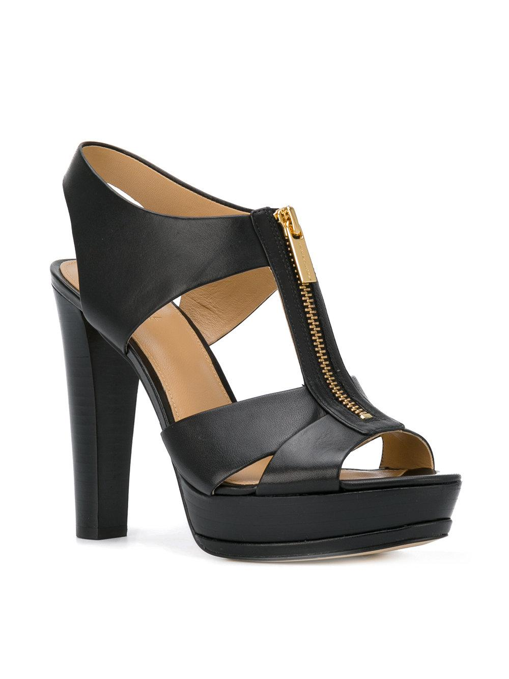 lyst michael michael kors zipped high heel sandals. Black Bedroom Furniture Sets. Home Design Ideas