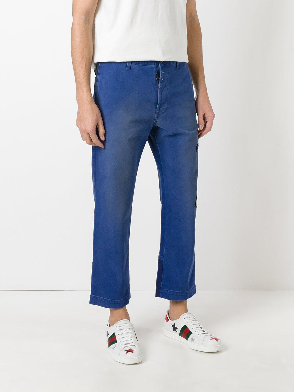 Gucci Donald Duck Embroidered Jeans in Blue for Men
