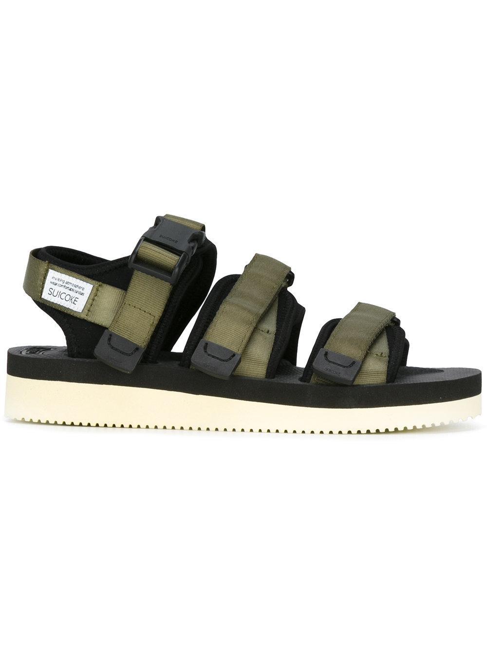 Suicoke Buckle Strap Sandals In Green For Men Lyst