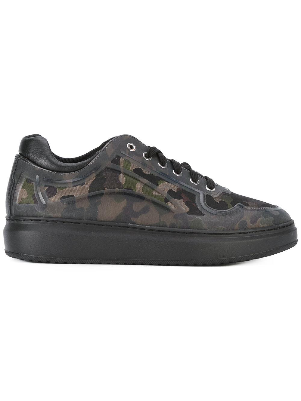 Pollini Camouflage Print Sneakers in Green