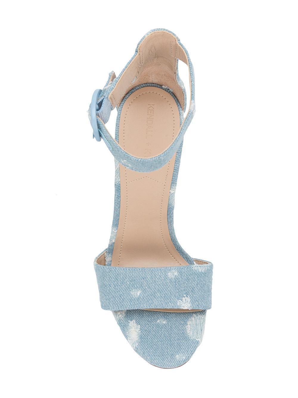 Sandales En Denim Détresse - Bleu + Kendall Kylie Q3xeSuJ