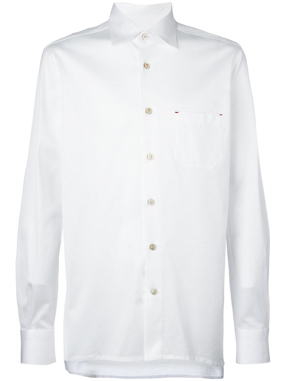 Kiton Button Up Shirt Men Cotton 42 In White For