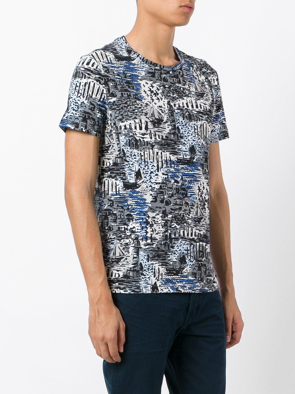 Lyst burberry printed t shirt in blue for men for T shirt burberry men
