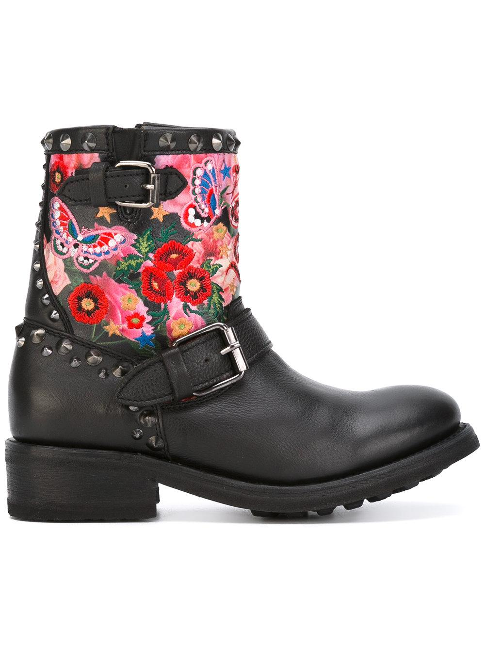 Ash Embroidered Biker Boots In Black Lyst