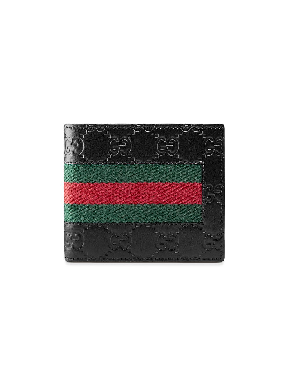 Gucci Signature Web Wallet in Black for Men