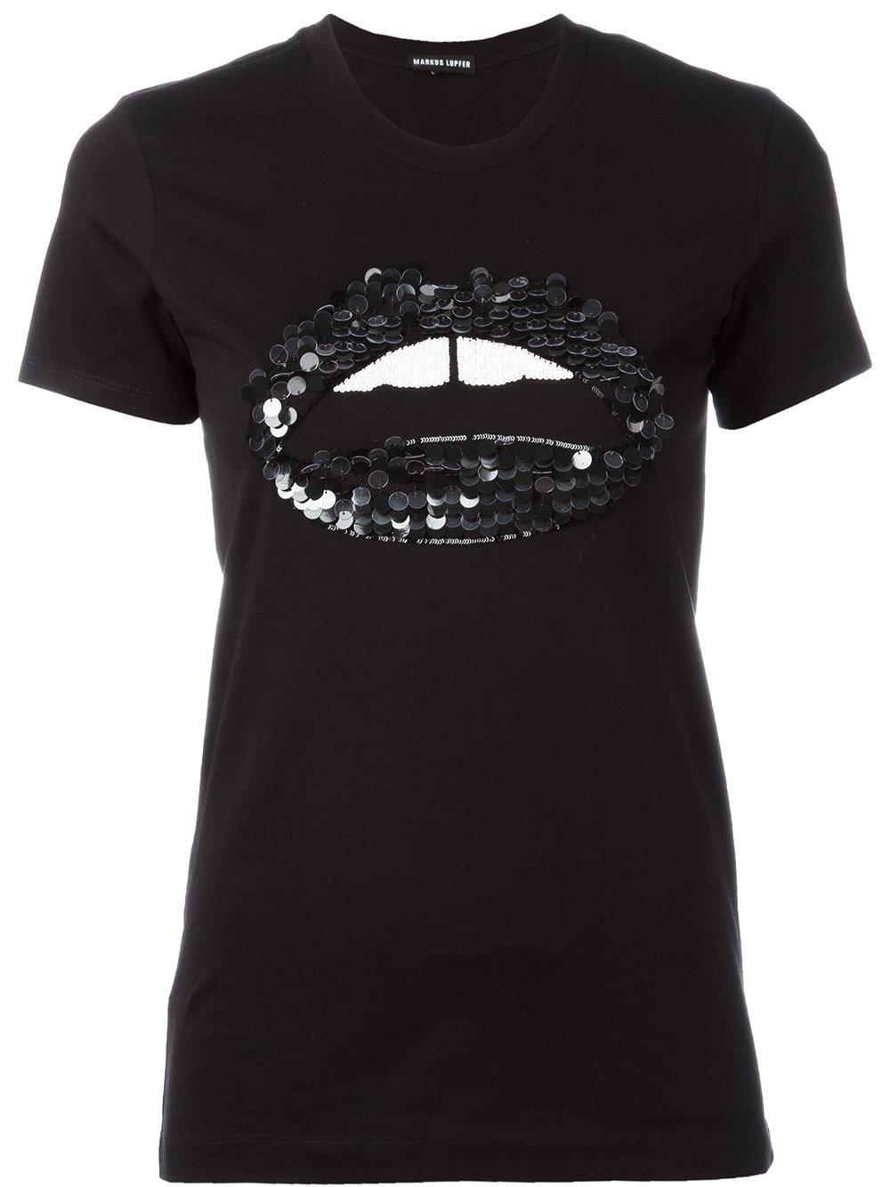 Lyst Markus Lupfer Sequin Embellished Lip T Shirt In Black