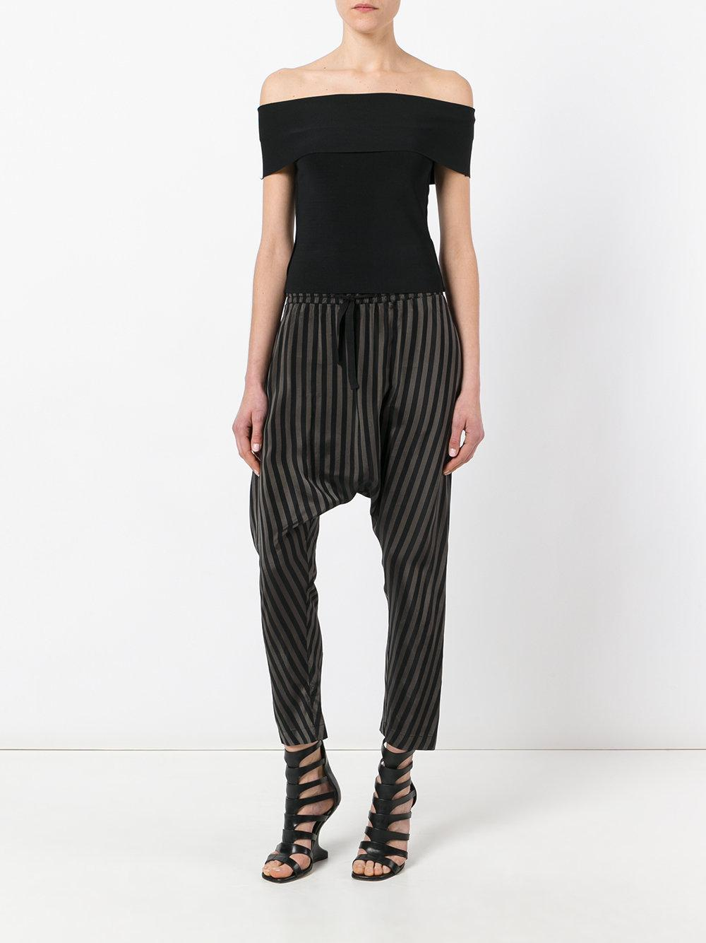 Nude Striped Drop-Crotch Trousers In Black  Lyst-6566