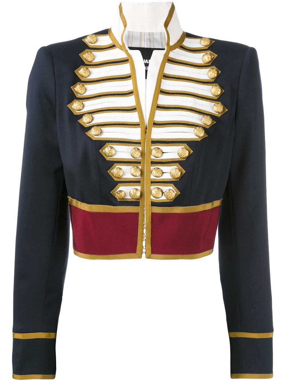 Dsquared 178 Cropped Military Jacket In Blue Lyst