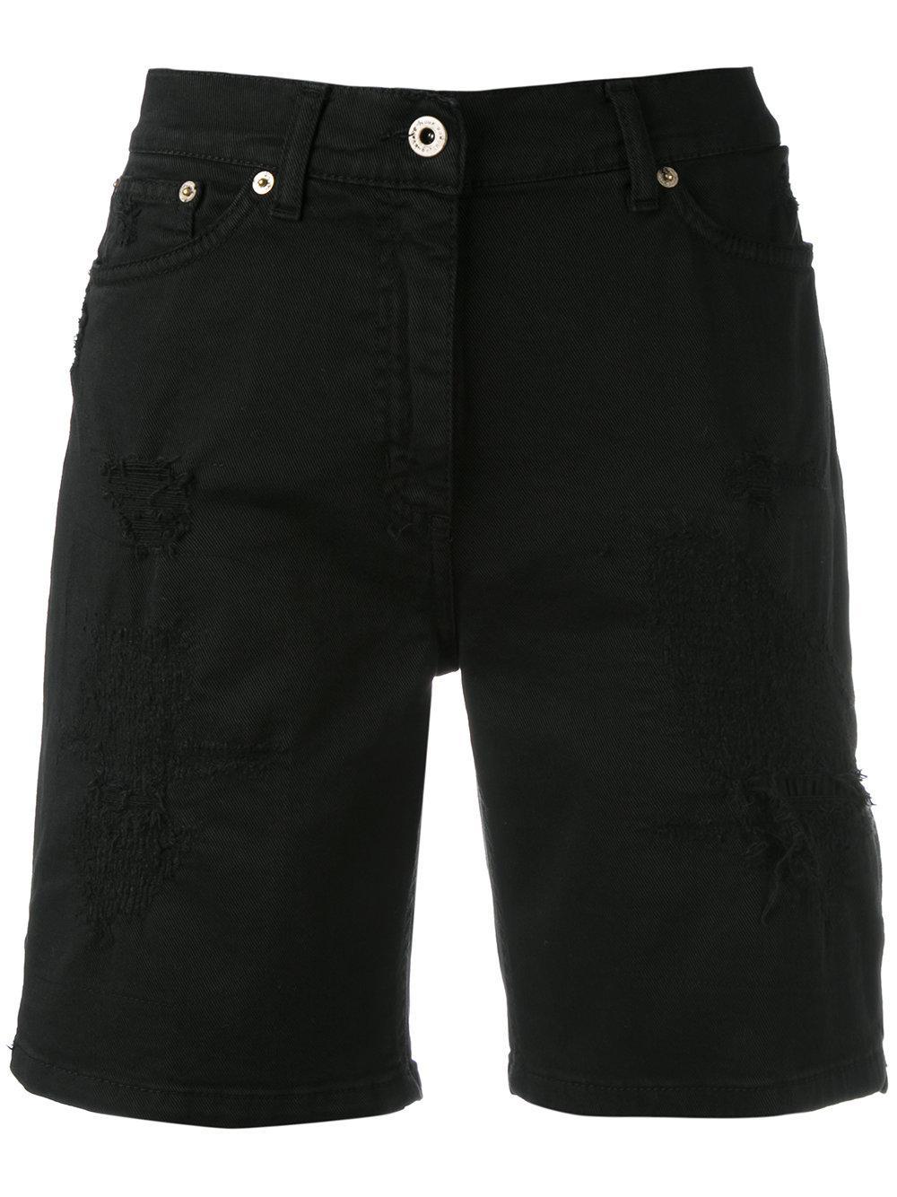 Dondup Knee-length Denim Shorts in Black | Lyst