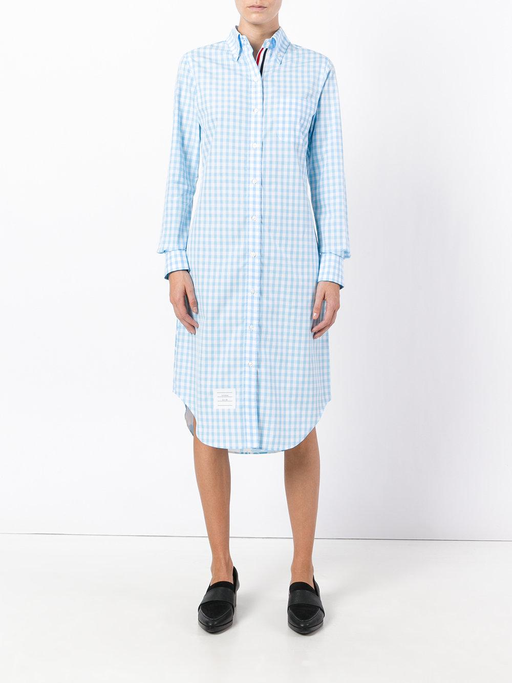 Lyst thom browne checked shirt dress in blue for Thom browne shirt sale