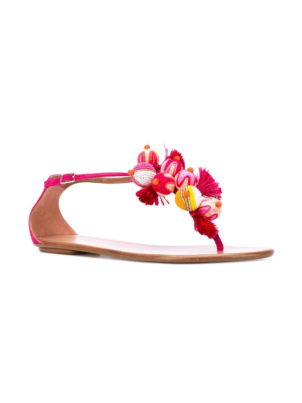 1c92a4b3d Lyst - Aquazzura  tropicana  Flat Sandals in Pink