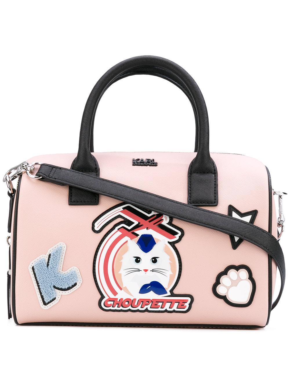 9b894300523d Lyst - Karl Lagerfeld Cat Motif Tote in Pink