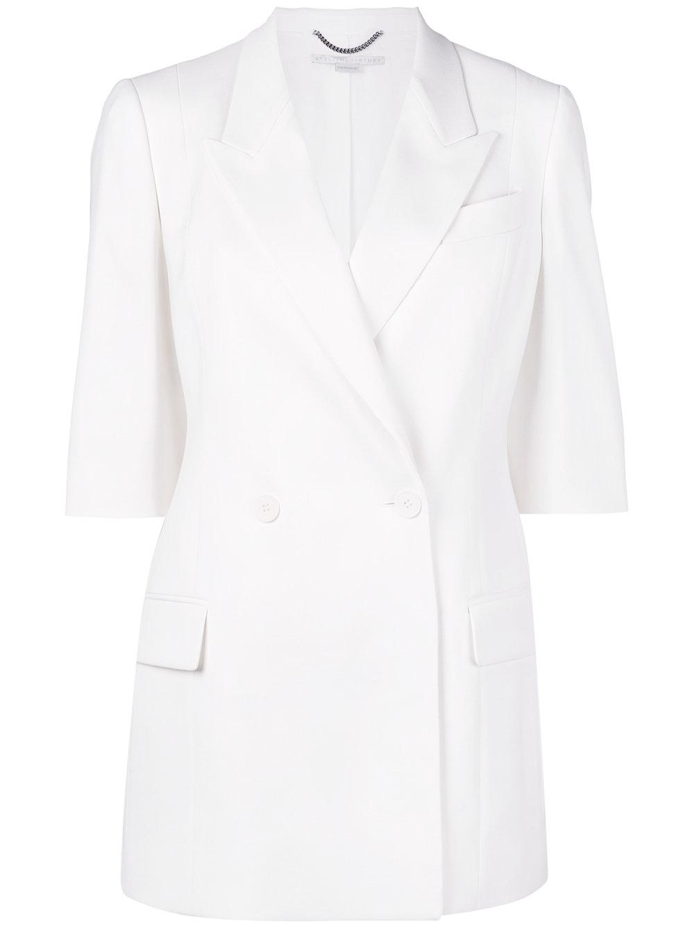stella mccartney double breasted blazer in white lyst. Black Bedroom Furniture Sets. Home Design Ideas