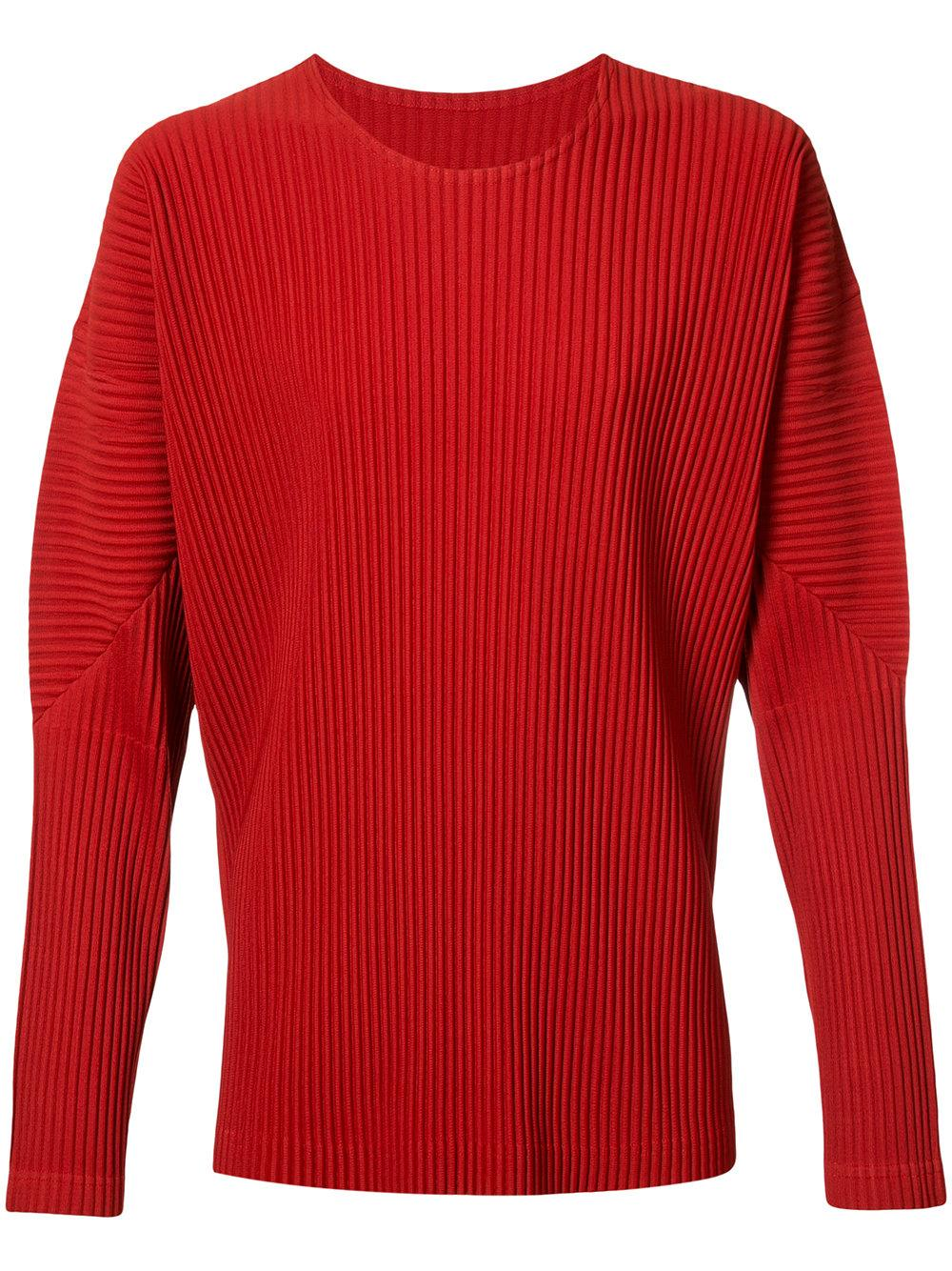 lyst homme pliss issey miyake long sleeve t shirt in red for men. Black Bedroom Furniture Sets. Home Design Ideas