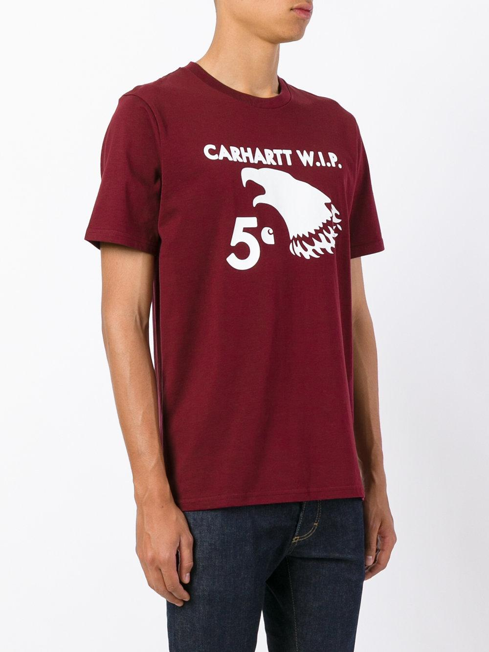 Carhartt printed t shirt for men lyst for Carhartt burgundy t shirt