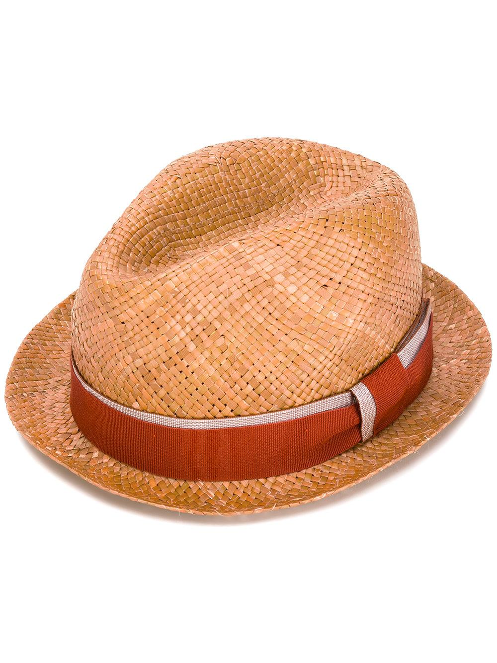 6a0cf0815ea Lyst - Paul Smith Ribbon Band Fedora Hat in Brown for Men