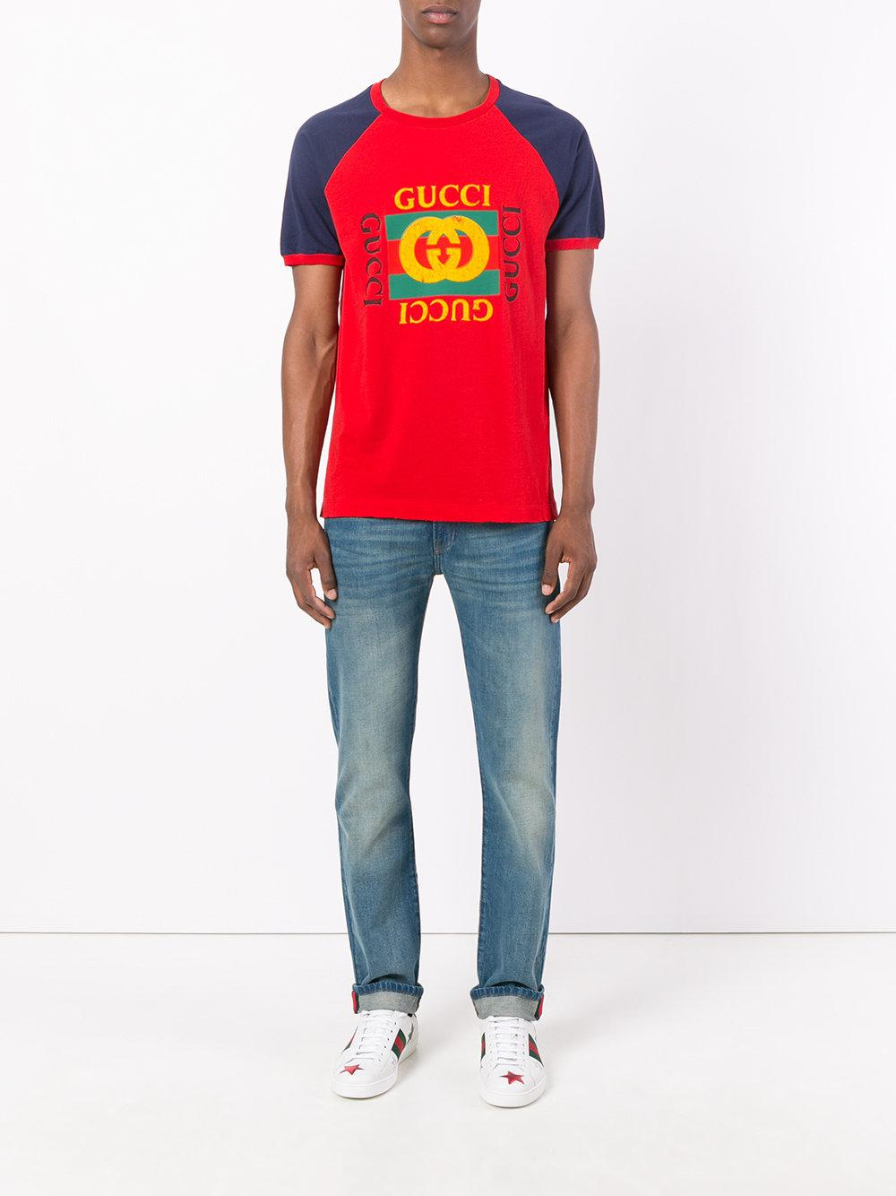lyst gucci print t shirt in red for men. Black Bedroom Furniture Sets. Home Design Ideas