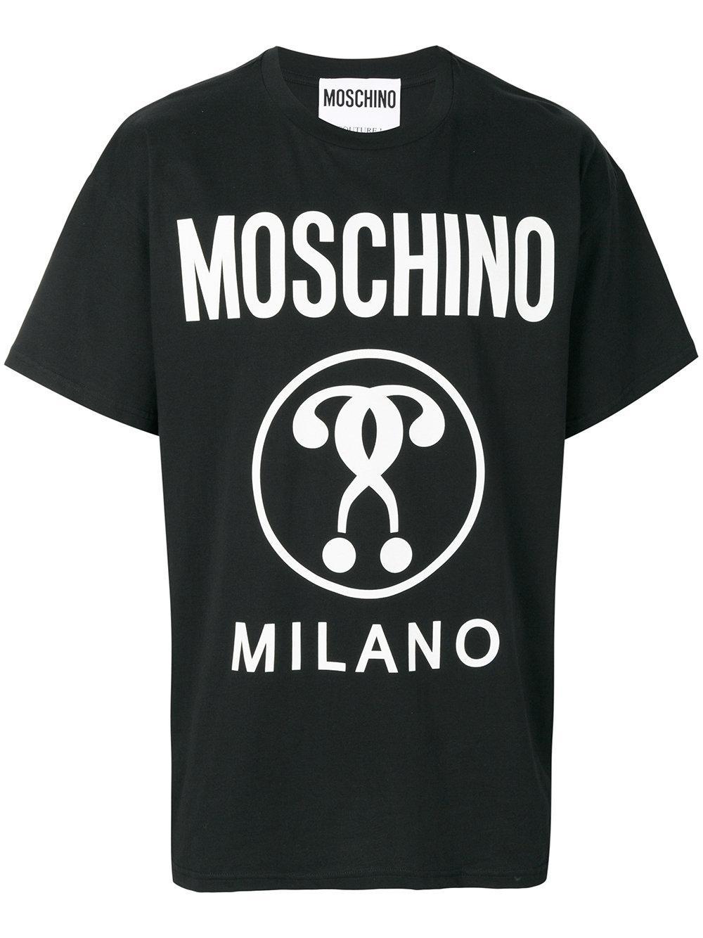 Moschino logo print t shirt in black for men lyst for Print logo on shirt