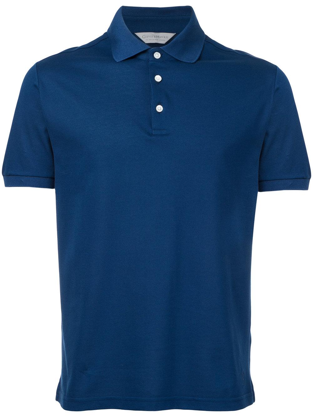 Gieves hawkes button up polo shirt in blue for men lyst for No button polo shirts