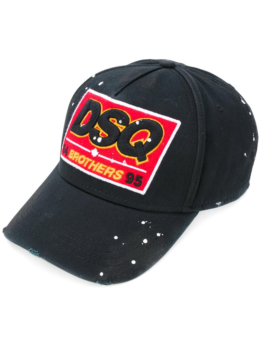 DSquared² Dsq Patch Baseball Cap in Black for Men - Lyst 0d0d59202f8