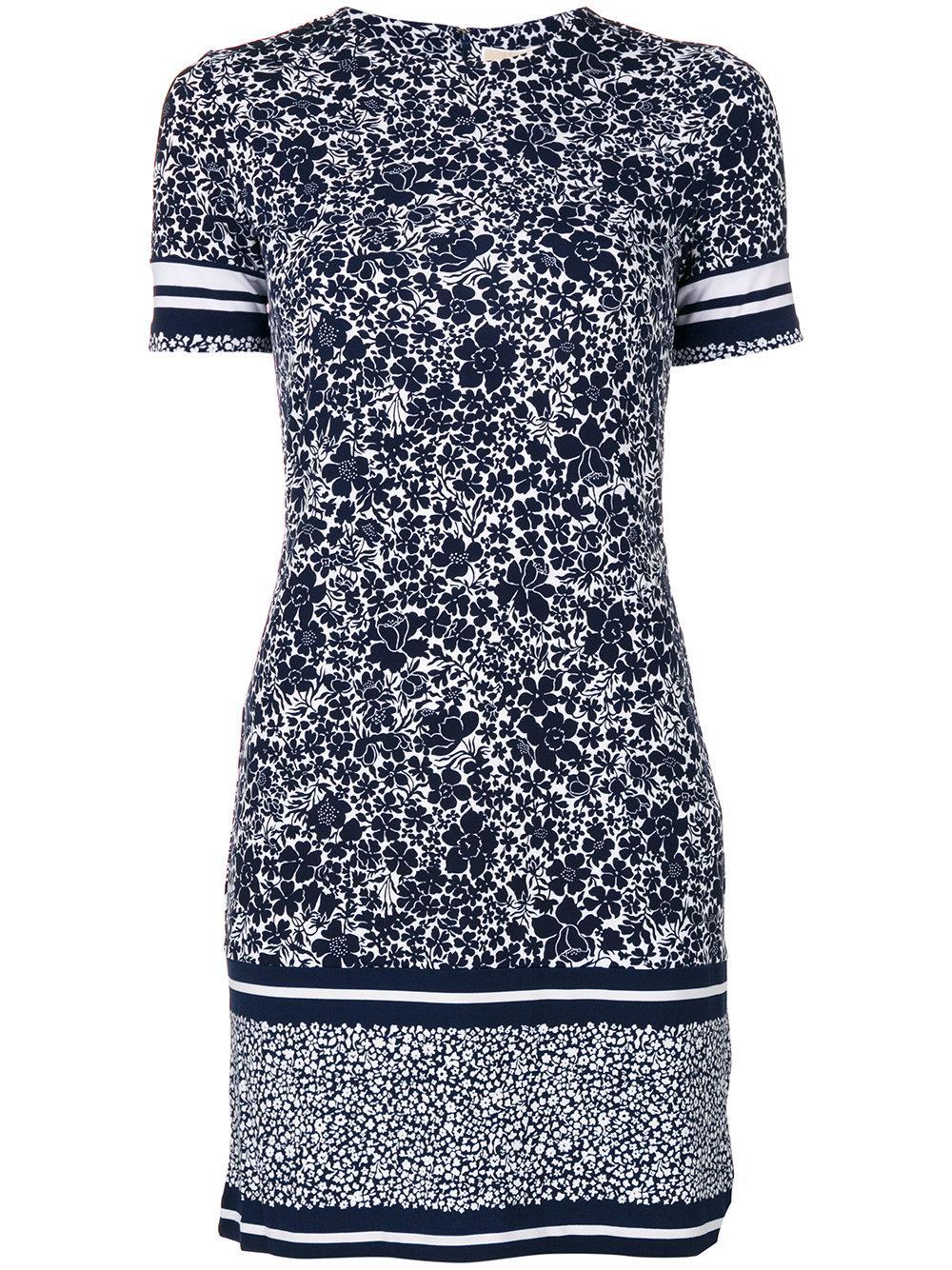 michael michael kors printed stretch t shirt dress in blue. Black Bedroom Furniture Sets. Home Design Ideas