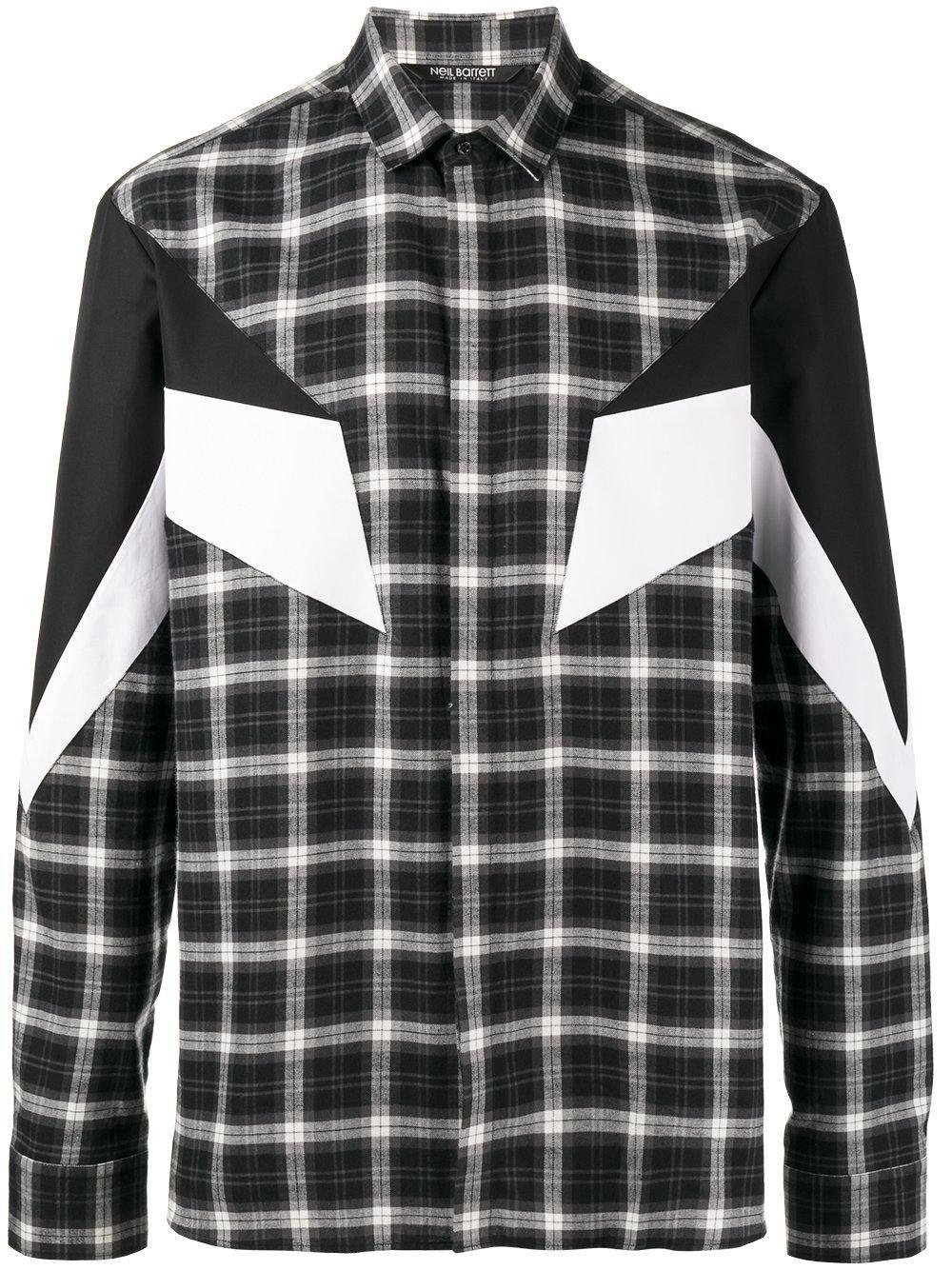 Lyst neil barrett 39 modernist 39 plaid shirt in black for for Black plaid shirt mens