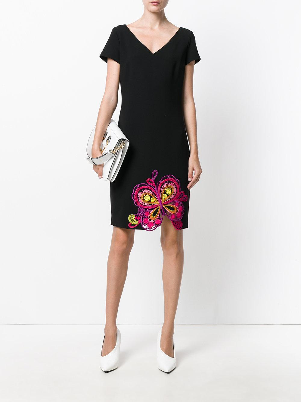 Lyst boutique moschino embroidered butterfly dress in black