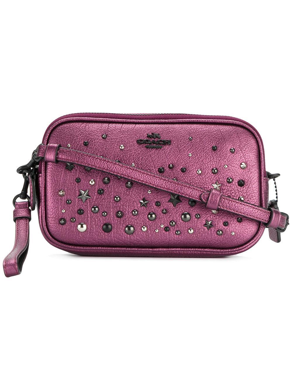 Lyst - Coach Stud Embellished Crossbody Bag