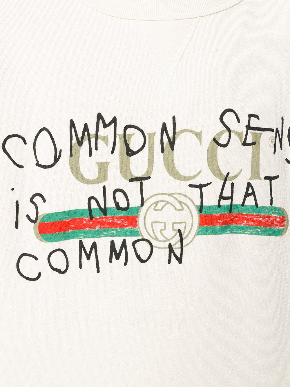 cfe27b5b Gucci Common Sense Is Not That Common Sweatshirt in White for Men - Lyst