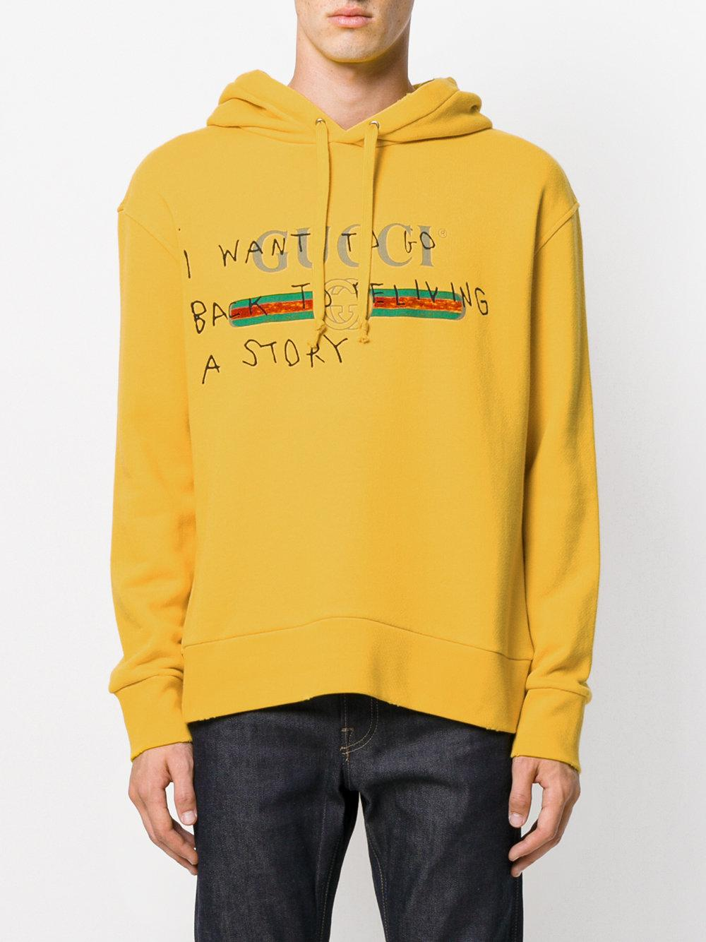 dfbae6ae0e3 Lyst - Gucci Coco Capitán Logo Hoodie in Yellow for Men