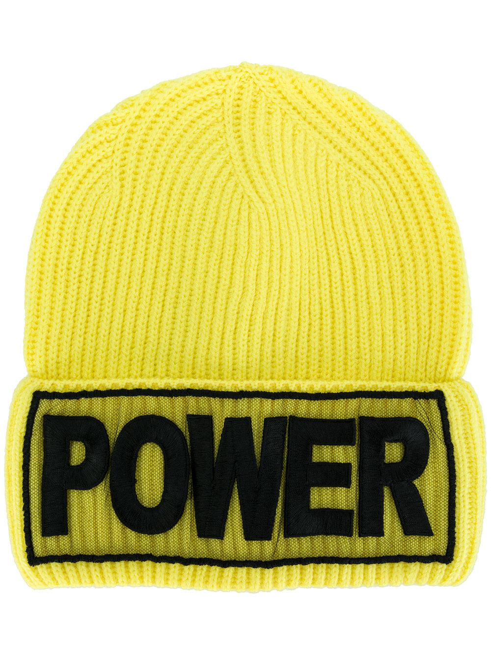 Versace. Men's Yellow Power Embroidered Beanie Hat