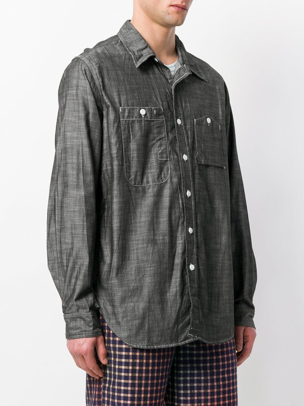 f8d0ea527df Svart skjorte konstruert lommer Asymmetrisk klær EOq51fw