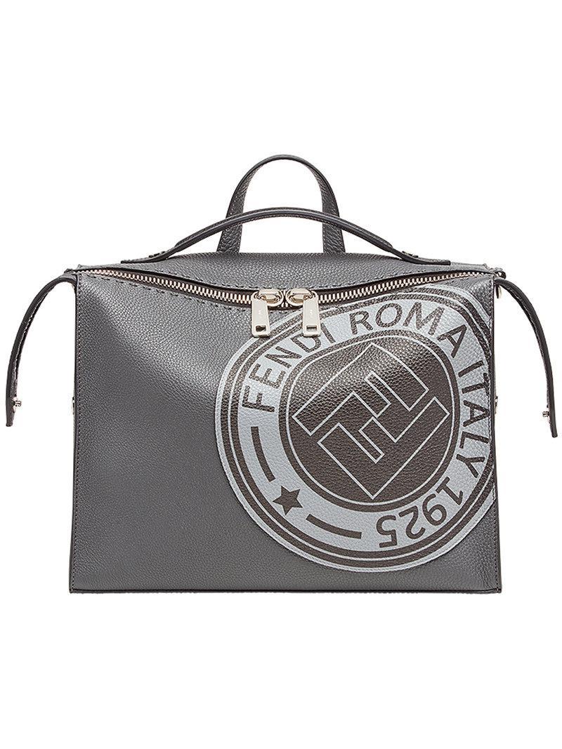 a3a634f1a2ab Fendi Logo Print Lui Bag in Gray for Men - Lyst