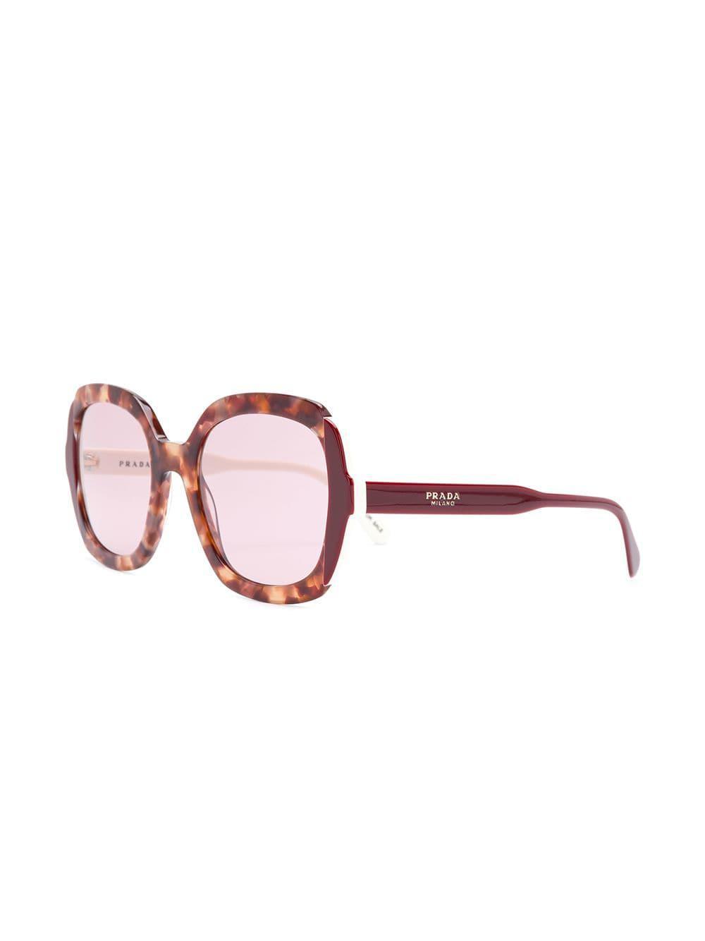5fc667fa9cd Prada - Red Oversized Square-frame Sunglassesc - Lyst. View fullscreen