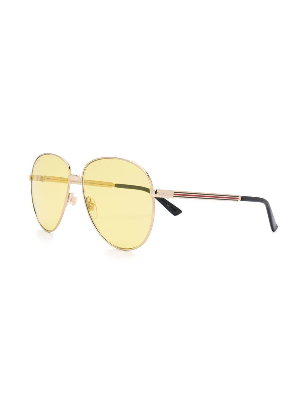 61fba50a5ae Gucci Aviator-style Sunglasses in Metallic for Men - Lyst