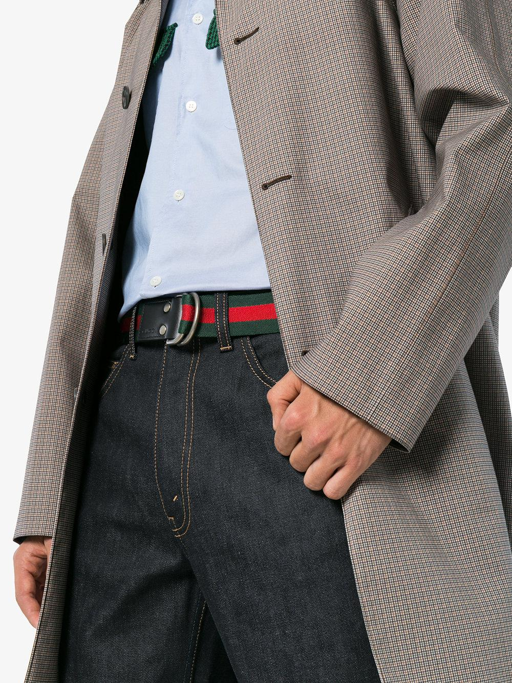 2f3cd6afccd Lyst - Gucci Green And Red Web D-ring Belt in Red for Men