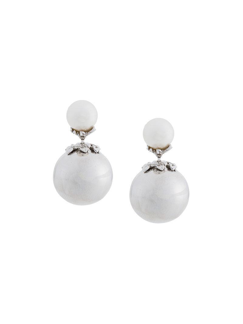 Kasun London orb and pearl stud earrings - Metallic 1ZLvWE
