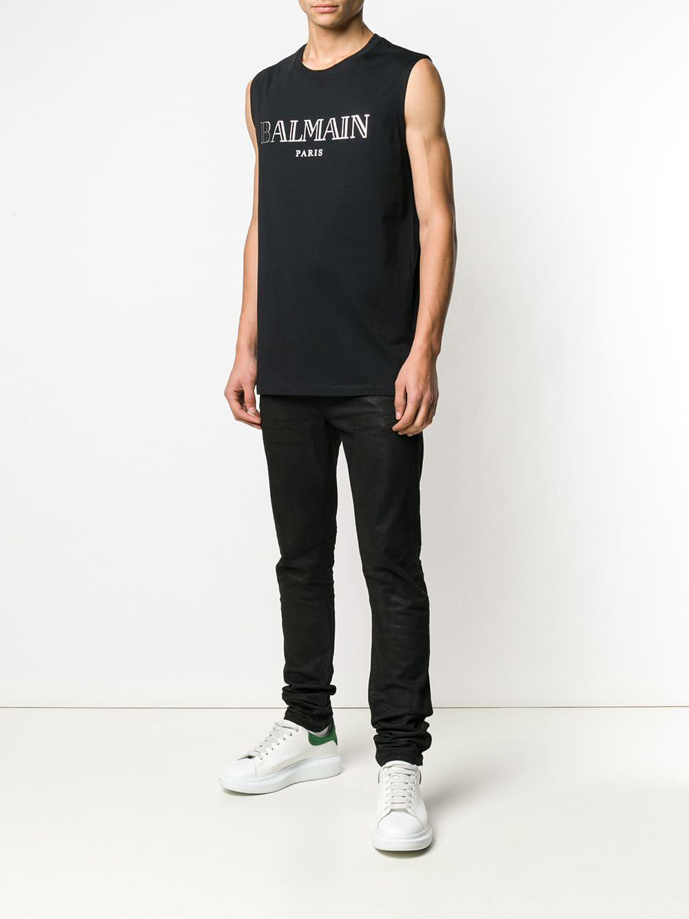 3dfefe0d Balmain Logo Print T-shirt in Black for Men - Lyst