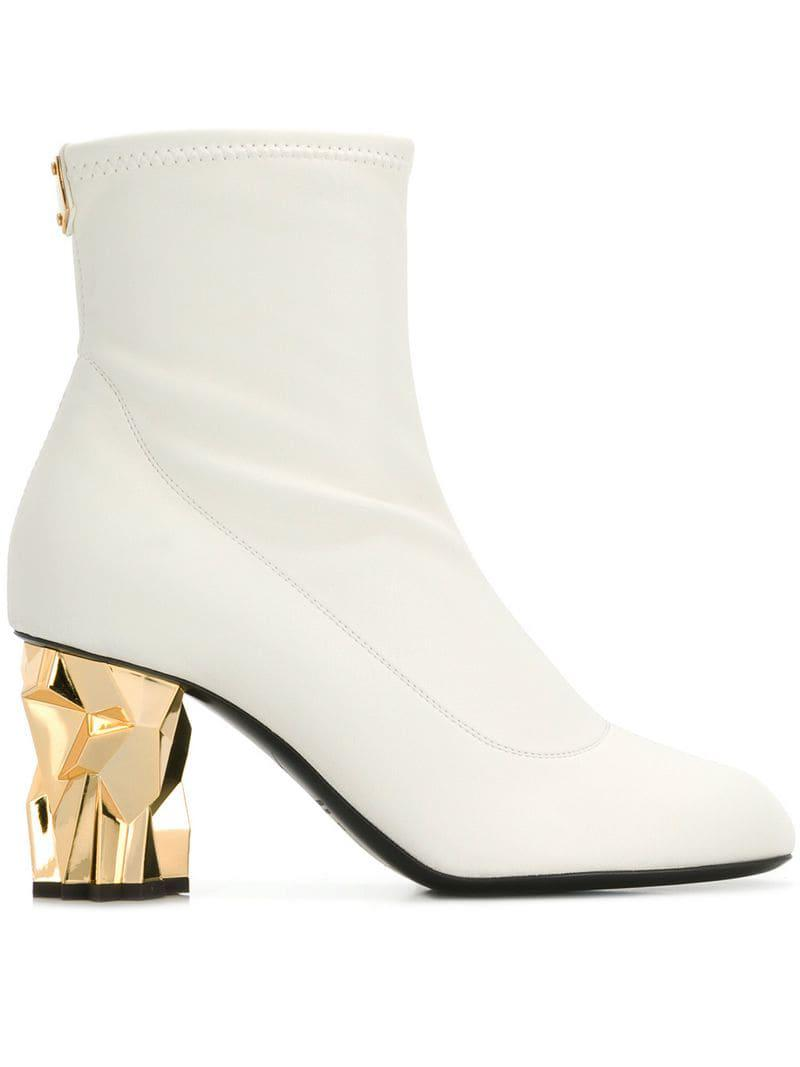 103c7c083f1 Lyst - Giuseppe Zanotti Gold Heel Ankle Boots in White - Save 69%