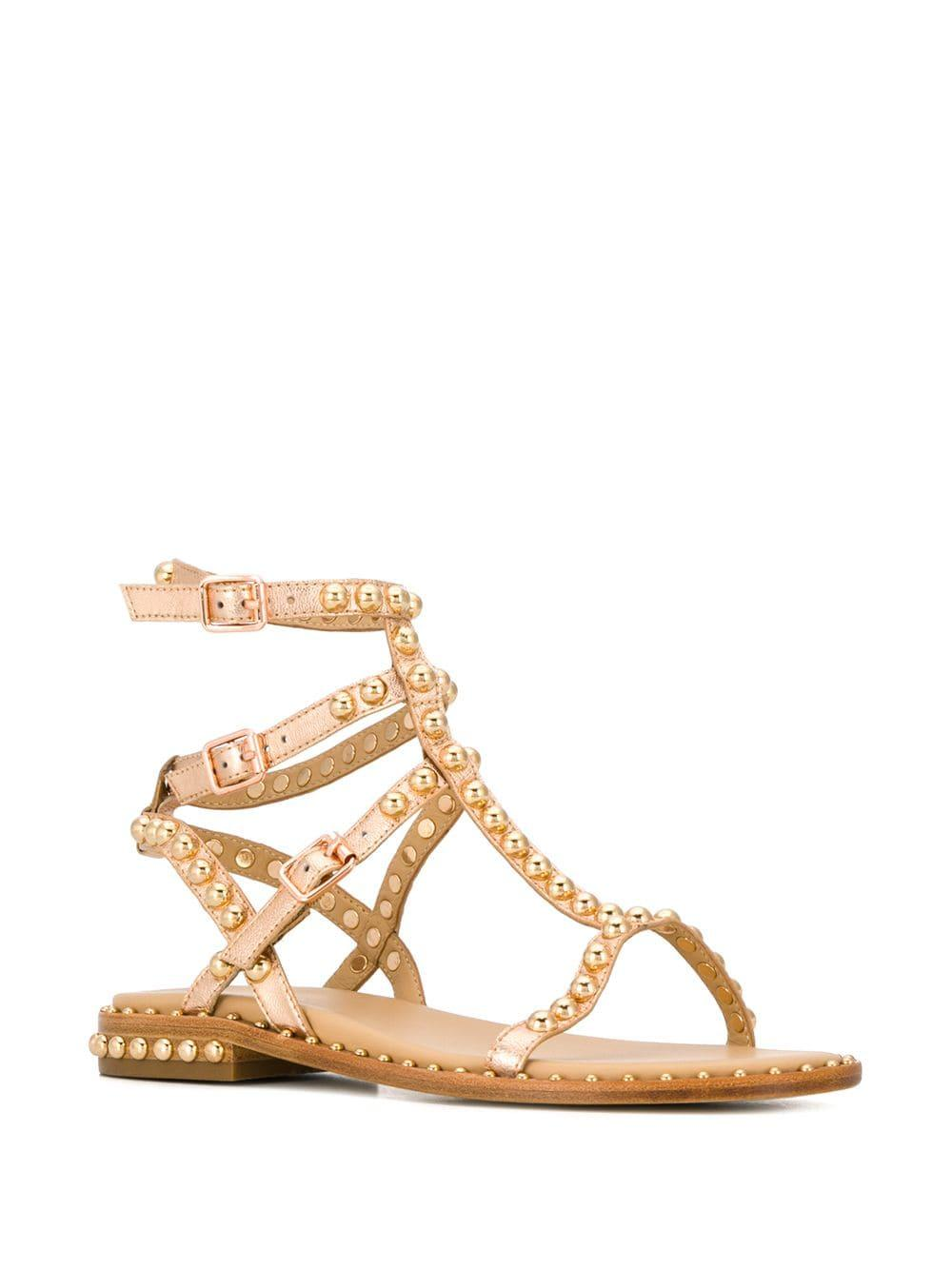 3081d98ab02a Lyst - Ash Play Studded Strappy Sandals in Metallic