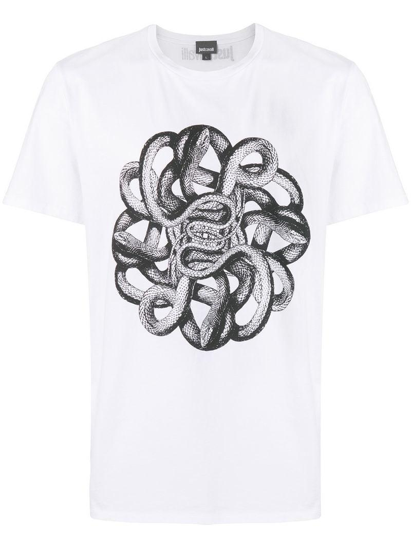 fa3ec512 Lyst - Just Cavalli Snake T-shirt in White for Men
