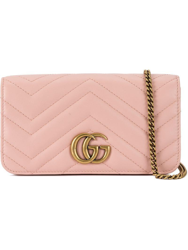 92883ccdb936 Lyst - Gucci Gg Marmont Mini Quilted Leather Shoulder Bag in Pink