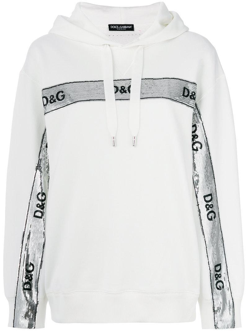 sequin logo banner hoodie - White Dolce & Gabbana Sale Great Deals rMY2V4g