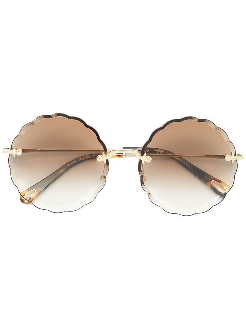 d32dc8c27d Gafas de sol con montura redonda Chloé de color Marrón - Lyst