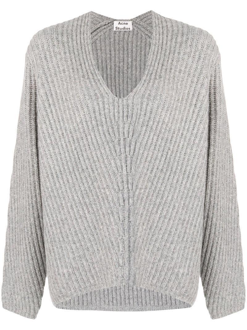 6fbdd1d20b35 Lyst - Acne Studios Deborah V-neck Sweater in Gray