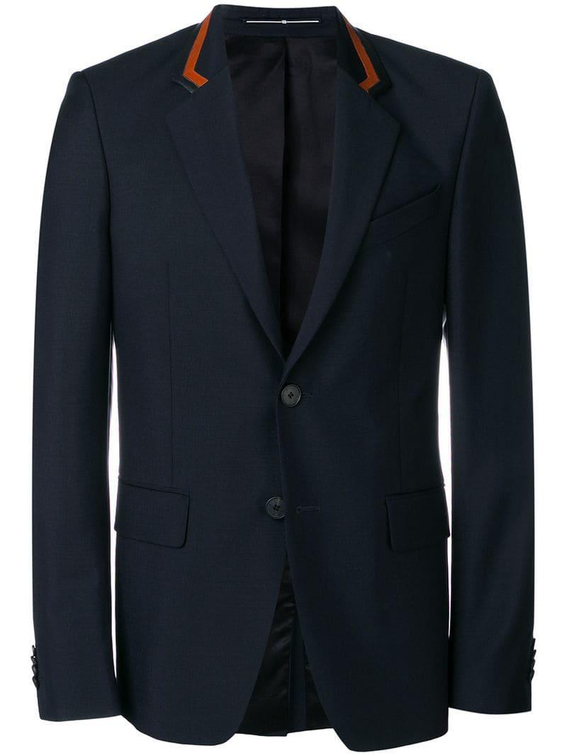 a88aab095ae Lyst - Givenchy Leather Detailed Blazer in Blue for Men
