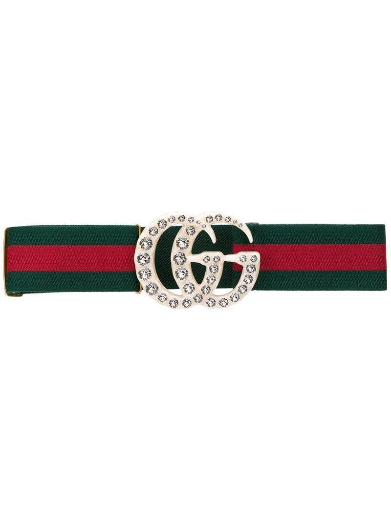 98da9103b4c Gucci Web Elastic Belt With Embellished GG in Green - Lyst