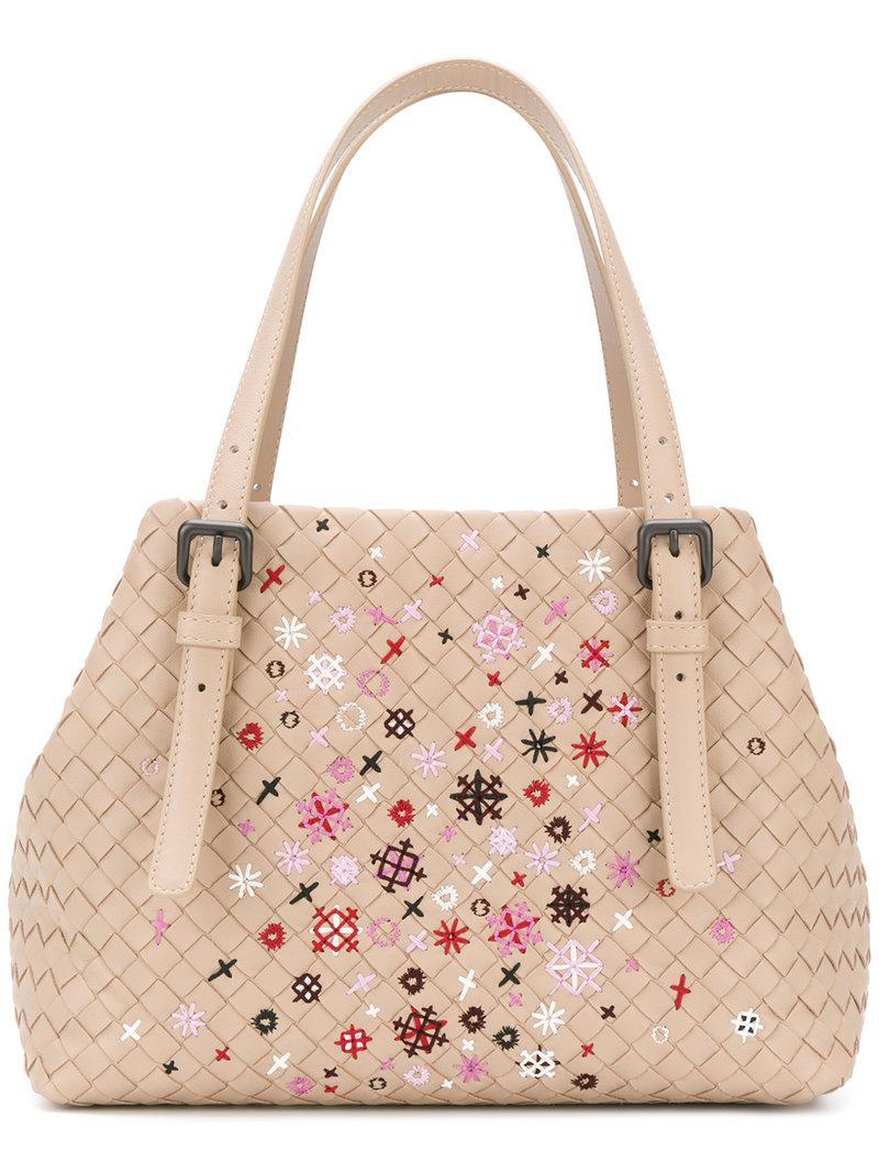 bd04e7cf05 Bottega Veneta. Women s Mink Intrecciato Meadow Flower Small Cesta Bag