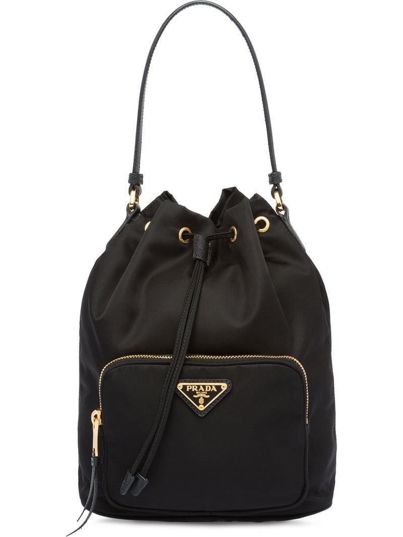 7fca5e8361 Prada - Black Saffiano Drawstring Bag - Lyst. View fullscreen